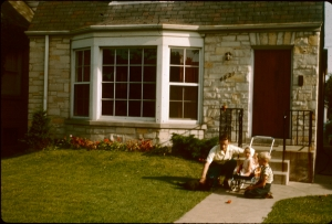 In front of his first house, in 1950
