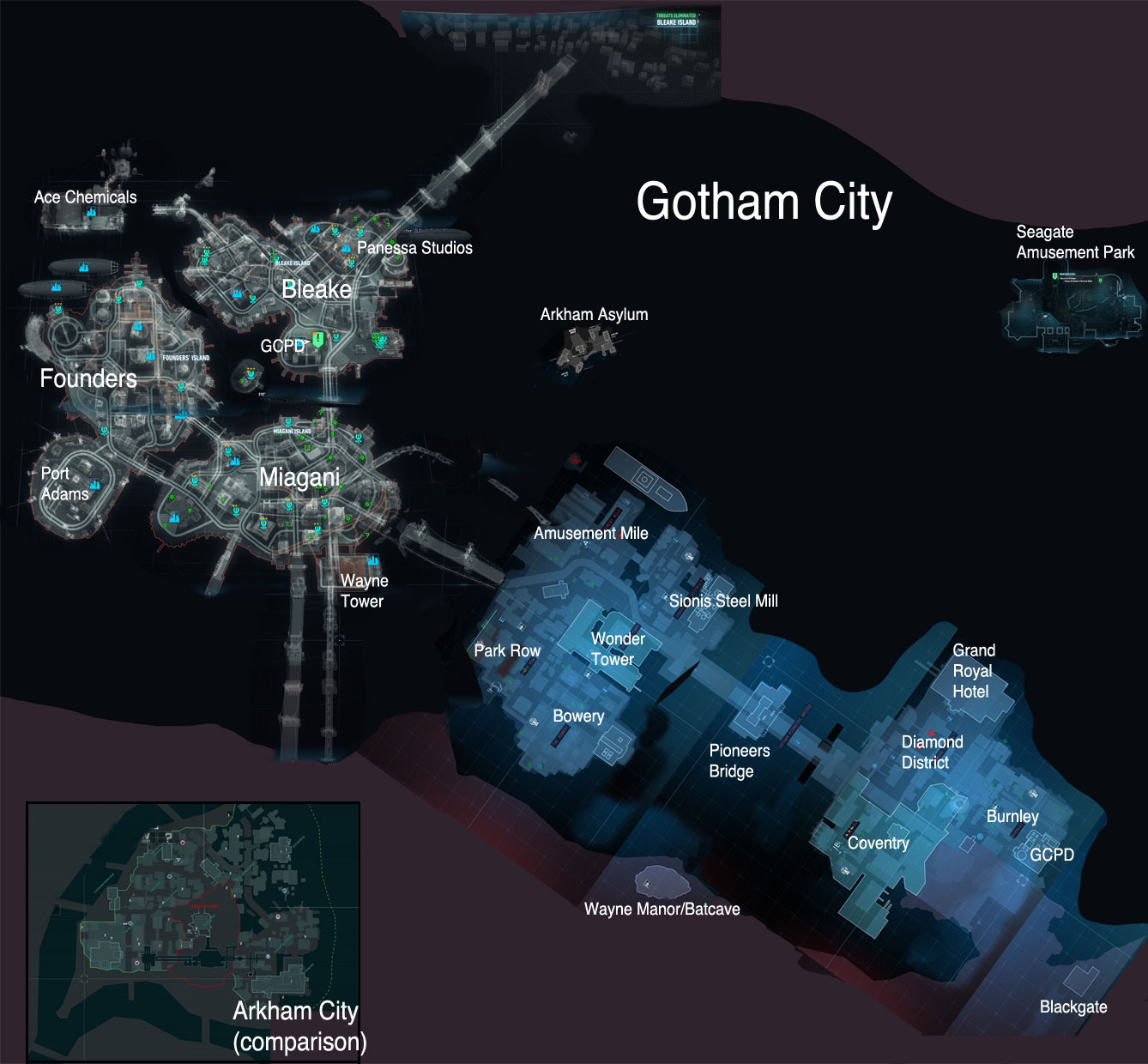 Arkham City Map Arkham's Gotham map | Zompist's E Z rant page Arkham City Map
